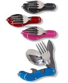 TRAVEL GEAR pink CAMPER TOOL 4 in 1 BOTTLE OPENER KNIFE SPOON FORK on eBay!