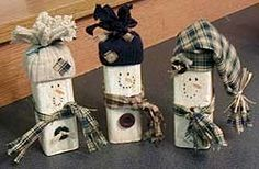 Wood Scrap Snowmen - Christmas Holiday Arts and Crafts - December - KinderArt