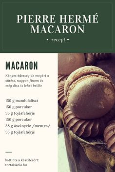 Pierre Hermé macaron recept – Tortaiskola Mousse, Muffin, Dessert Recipes, Sweets, Baking, Eat, Breakfast, Food, Paris