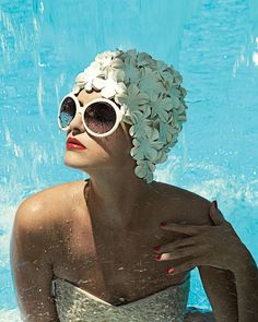 Bathing cap and glasses.