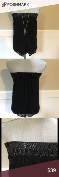 """French Connection Strapless Top Black softly pleated and flowy fabric. Beautiful Sequined Top.  Completely lined. Size 4.  Band measures 16"""" across when laid flat. Length is approximately 20""""  Including band. EUC French Connection Tops"""