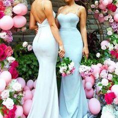 Sweetheart Sweep Train Mermaid Bridesmaid Dress with Sash Ruffles Spaghetti Straps dress,dresses,fashion,women's fashion,bridesmaid dress,spaghetti straps,mermaid,sweep train