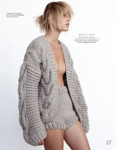 Contemporary Knitwear - knitted shirts & cardigan with cable sleeve detail… Knitwear Fashion, Knit Fashion, Womens Fashion, Fashion Fashion, I Love Mr Mittens, Big Knits, Chunky Knits, Mode Editorials, Fashion Editorials
