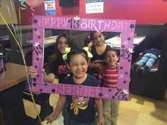 13th Birthday photo frame black & purple