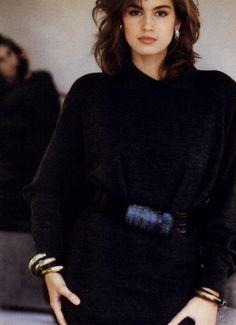 "Vogue US July 1986  ""Soft Dressing…Pure Pleasure!""  Model: Cindy Crawford  ph: Wayne Maser"