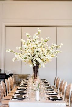 Black, White, And Chic All Over – WedLuxe Magazine - corporate event decoration White Cherry Blossom, Cherry Blossom Wedding, White Chic, Black And White, Wedding Decorations, Table Decorations, Event Company, Taper Candles, Bat Mitzvah
