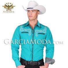 Camisa El General Western Wear 34245GM Teal #ropavaquera #grupero #norteño #westernwear #cowboy