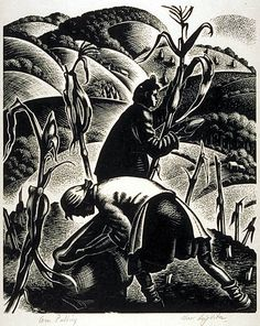 Clare Leighton United States (born England, 1899-1990)  Corn Pulling, 1952  Wood engraving    The Prairie Print Makers Gift Print Collection