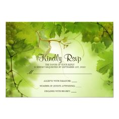 Winery Wedding RSVP Wine, Vineyard Or Winery Themed Wedding RSVP Card