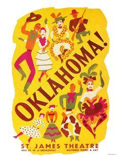Vintage Theatre Poster - Oklahoma - St James Theatre - Broadway - New York