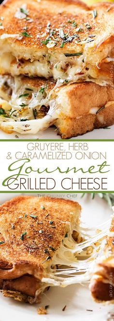 Ultimate Grilled Cheese | Gooey Gruyere and white cheddar cheese, savory rosemary butter, and herbed caramelized onions... need I say more? | http://thechunkychef.com