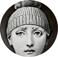"""We Adore: The """"Frozen Face With Hat"""" Plate from Fornasetti at Barneys New York Fornasetti Wallpaper, Piero Fornasetti, Black And White Plates, Black White, Frozen Face, Romantic Paintings, Italian Painters, Art Academy, Tattoo Fonts"""