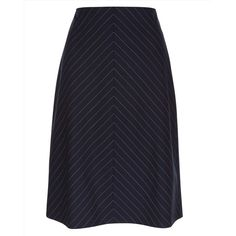 Jaeger Jaeger Wool Pinstripe Skirt ($145) ❤ liked on Polyvore featuring skirts, blue a line skirt, knee length a line skirt, blue pinstripe skirt, blue wool skirt and stretch wool skirt