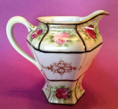 Nippon-Large-Pitcher-Hand-Painted-Roses-With-Gold-Moriage-Beading-Japan