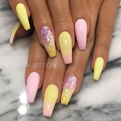 "If you're unfamiliar with nail trends and you hear the words ""coffin nails,"" what comes to mind? It's not nails with coffins drawn on them. Although, that would be a cute look for Halloween. It's long nails with a square tip, and the look has. Yellow Nails Design, Yellow Nail Art, Pastel Yellow, Acrylic Nails Yellow, Orange Pink, Pink Blue, Blue Green, Hot Pink, Purple Art"