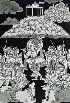 Krishna Holding Giri Govardhan - Folk Art Paintings (Phad Painting on Cloth - Unframed) Kalamkari Painting, Krishna Painting, Madhubani Painting, Krishna Art, Lord Krishna, Krishna Drawing, Radhe Krishna, Krishna Statue, Shree Krishna
