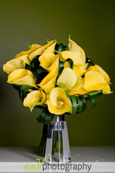 Cheery yellow Calla Lily bouquet