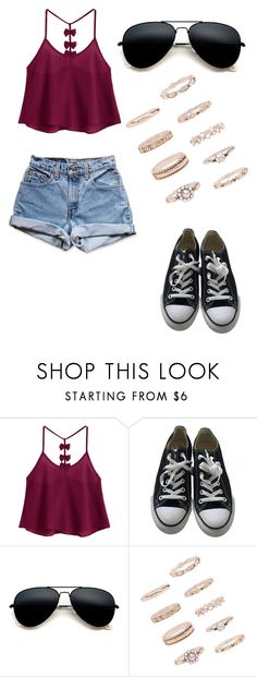 """""""No name#52"""" by kyley-mays on Polyvore featuring Converse, Levi's and Forever 21"""