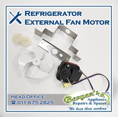 If your refrigerator is not cooling, it could be a multitude of things that could be wrong however it could just be a faulty external fan motor. Give us a call and we can diagnose the fault for you. #wekeepthemworking #bergensappliances #appliancerepair #appliancepart #wefixappliances #fanmotor #cooling #fridge #refrigerator #repairtech #wefixit #quote #southafrica #inthekitchen #recycle #unwantedappliance #recycleappliance Appliance Repair, Appliance Parts, Bergen, Kempton Park, Home Automation, Solar Energy, Branches, Refrigerator, Fans