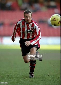 Paul Devlin of Sheffield United in action during the Nationwide Division One match against Blackburn Rovers played at Bramall Lane in Sheffield. Sheffield United Football, Sheffield United Fc, Bramall Lane, Mark Thompson, Blackburn Rovers, Best Football Team, Division, Red And White