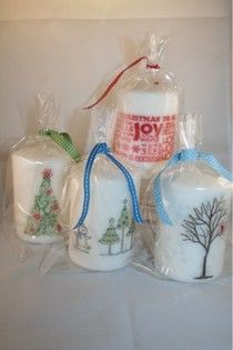 Stamped candles from the 12 days of Christmas teacher gifts.