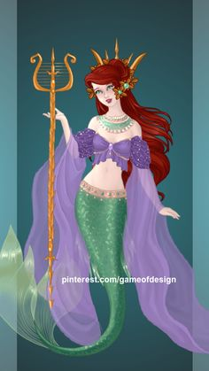 Queen Ariel (NEW VERSION), made on Azalea's Goddess Maker. [1.5/? Princesses to Queens]