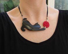 Un collare di originale e divertente del gatto nero: di Clafoutine