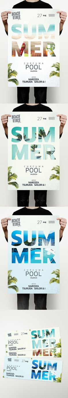 Buy Summer Flyer by DusskDesign on GraphicRiver. Summer Flyer – This summer flyer poster template is great for a beach party, summer party, pool party, beach bar, clu. Web Design, Layout Design, Print Design, Art Print, City Poster, Poster Art, Editorial Design, Lettering, Poster Festival