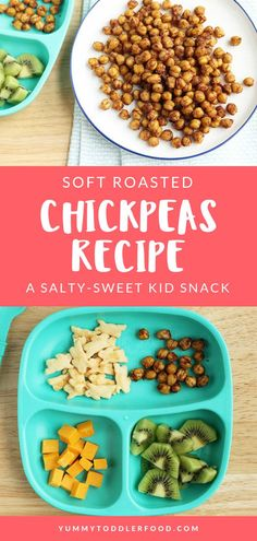 This roasted chickpeas recipe is an easy and delicious way to add nutrition to y. - healthy meals for kids - Roasted Healthy Bedtime Snacks, Healthy Toddler Meals, Healthy Snacks For Kids, Kids Meals, Toddler Food, Easy Toddler Snacks, Daycare Meals, Chickpea Snacks, Chickpea Recipes
