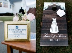 Custom wedding corn hole board and instagram signs.  Carley Rehberg Photography