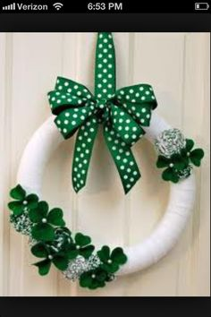 St Patty's Day wreath - Shoot, I like this one better than the one I made last year!