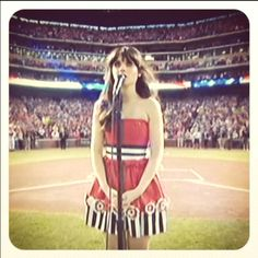 Zooey Deschanel singing the National Anthem at the World Series 2011 Zooey Deschanel Singing, Singing The National Anthem, First Nations, Your Girl, Girl Crushes, Strapless Dress, Shit Happens, My Love, Game 4