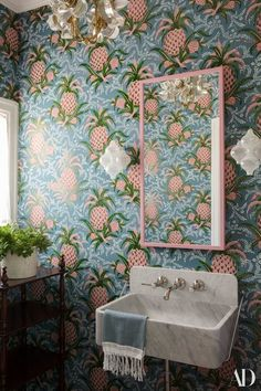 """Ridder is a master of handling patterns, like this wallpaper. """"That's your typical powder room,"""" says Kaling. """"Really good in small doses!""""   archdigest.com"""