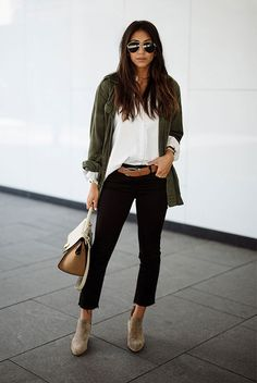spring outfit, fall outfit, casual outfit, work outfit, office outfit, fall layers, street style, fall trends 2016 - military jacket, white shirt, brown belt, black crop jeans, brown booties, nude handbag, aviator sunglasses