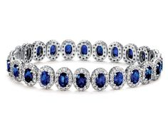 oval sapphire and pave diamond bracelet in 18K white gold.