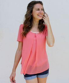 GroopDealz   Pleated Chiffon Blouse - 6 Colors!