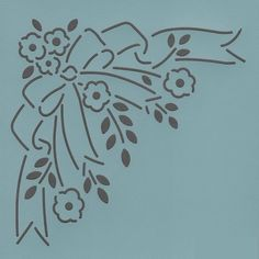 """Floral Bow Corner 6"""" - The Stencil Company"""