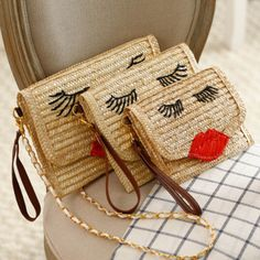 41.71$  Watch here - http://vivts.justgood.pw/vig/item.php?t=2mizope21989 - 2017 Summer Beach Straw Messenger Bag Simple Girls Day Clutches Smiley Crossbody 41.71$