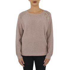 This shimmery sweater with braided detail on left side is perfect for your  holiday wardrobe. The slight sparkle and cozy knit are the best of winter  in a ... 3ae4a7268
