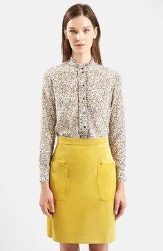 TOPSHOP Unique Ottoline Floral Print Silk Ruffle Shirt