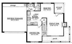 First Floor Plan of Country   House Plan 79158