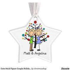 Cute Stick Figure Couple Holiday Ornament