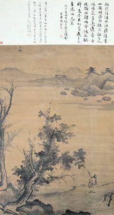 Jiang Song(蒋嵩) , 蒋嵩 归渔图 台北故宫博物院藏 画面左上方有画家签款「叁松」二字,并钤盖「恭靖公孙」印记。「叁松」是浙派画家蒋嵩的字号,而「恭靖公」则是他的曾祖父蒋用文过世后,受皇帝赐与的谥号,所以这件〈归渔图〉是蒋嵩流传下来的重要画蹟之一。蒋嵩出身书香世家,家族成员皆擅于诗文、或嗜好书画,因此他的绘画也受到出身背景的影响,带有浓厚的文人色彩。在这幅画中,蒋嵩採用「一河两岸」的构图,让近景的坡石、树丛与上方的远山隔着空阔的江面遥遥相对,营造出类似于元代文人画家倪瓒那种疏简平淡的气氛。此外,画家也运用墨色轻淡、饱含水份的笔刷烘染山石,让整幅画的景物充满大气氤氲的效果。蒋嵩的绘画具有一种温和平淡的风格,在强调动势与笔墨张力的浙派画家之中,显得独树一格.