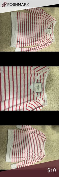 "Red/white striped 100% cotton pullover shirt. Striped shirt by Abercrombie & Fitch has a very classy style.  Size L. 25"" long. Abercrombie & Fitch Tops Tees - Short Sleeve"