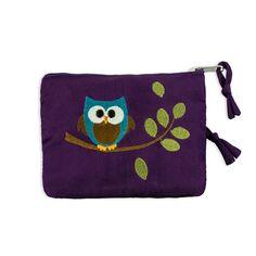 Zip Wallet - Embroidered Owl