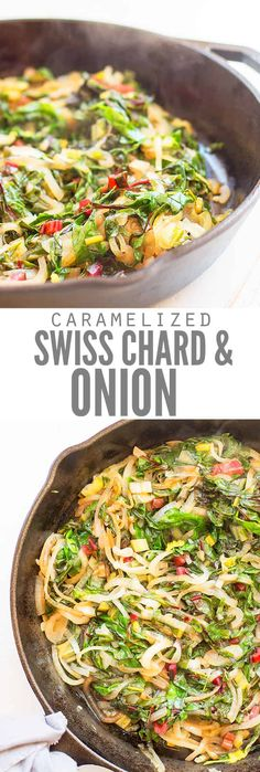 This caramelized onions and Swiss chard recipe is my husband's all-time favorite. We use either rainbow or red chard and sometimes add peppers too. It's super healthy and can easily be made vegan! A perfect dish in the summer, or all year long! Rainbow Swiss Chard Recipe, Rainbow Chard Recipes, Swiss Chard Recipes, Cooking Swiss Chard, Chicken Swiss Chard Recipe, Onion Recipes, Vegetable Recipes, Vegetarian Recipes, Healthy Recipes