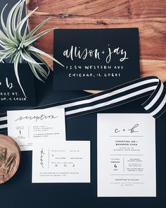Minimalist Black and White Handlettered Wedding Invitations by Grace Niu