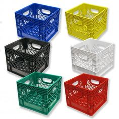 Set of 6 square milk crates – heavy duty crates at the best prices Milk Crate Storage, Table Storage, Toy Storage, Plastic Milk Crates, Crates For Sale, Buy Milk, Play Yard, Home Gadgets, Pool Table