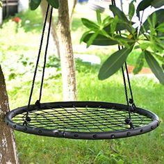 """IMAGE® 1M/40"""" Children's Web Swing Playground Platform net Swing Nylon Rope detachable 1M/40inch Diameter (swing with carabiner)"""