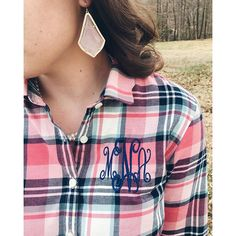 Just the details from yesterday's post   || Marley Lilly Scallop Southern Proper Popover, flannel, plaid, monogram, kendra scott earrings, alexandra, pink, navy, preppy, fashion, style, fall, ootd